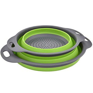"Enkousa Collapsible Colander 2 sets, Kitchen Foldable Silicone Strainer, 2 Sizes Incl 8"" & 9.5"""