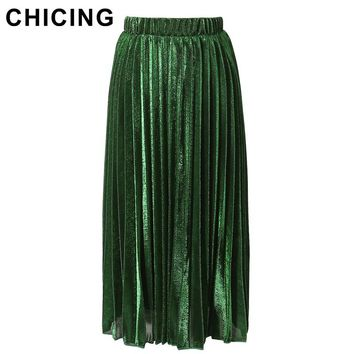 CHICING Women Pleated Skirts 2017 Bling Bling Glitter Gold Flared High Waist Tutu Party Ladies Spring Summer Midi Skirt A1601018