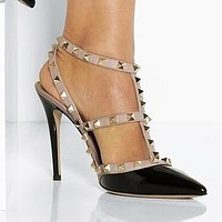 Valentino Trending Women Personality Rivet Pointed Sandals Shoes High Heels Black