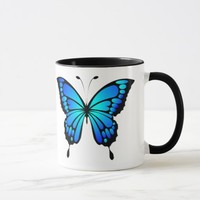 Turquoise blue butterfly mug