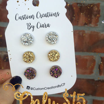 Silver, Gold, Gunmetal Druzy Earring Set, Stud Earrings, Faux Druzy Earring, Druzy Earrings , Stone Jewelry, Boutique, Stud Opal, Rose Gold