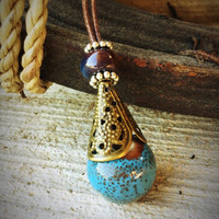 Gypsy teardrop necklace,Boho necklace,opera necklace,ceramic necklace,porcelain pendant,hand painted,glas jewelry,bronze necklace,filigree