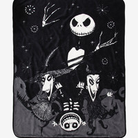 The Nightmare Before Christmas Jack With Lock Shock & Barrel Throw Blanket