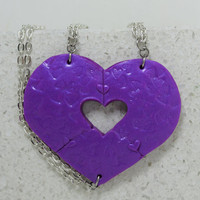 Puzzle Heart Necklaces set of 3 Friendship Purple  Heart Puzzle Necklace Polymer clay Set 14