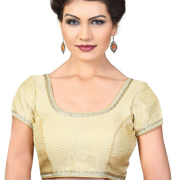 Saris and Things Gold Brocade Fancy Back Open Saree Blouse Choli SNT-X-379SL-GOLD