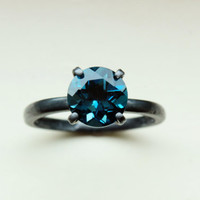 Stunning 7mm Round Cut VVS London Blue Topaz in Oxidized Sterling Silver Custom Made in Your Size