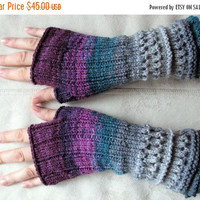 Fingerless Gloves Mittens wrist warmers Violet Purple Blue Burgundy Green Gray Dove, knit