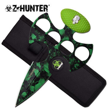Z Hunter Fantasy Fixed Blade Knuckle Handle Push Dagget Knife - Green Skull Camo