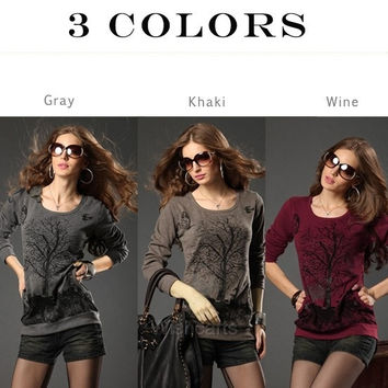 New Women's Good Elastic Autumn And Winter Top Blouse Tree Pattern Rivet Bottoming Shirt