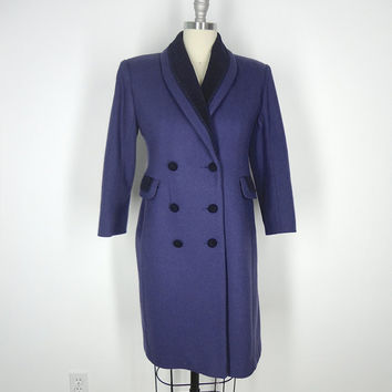 Vintage Women's Coat / Purple Wool / Trench Trenchcoat Overcoat Winter / Size Small Petite S P