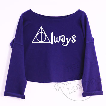 """""""Always"""" Deathly Hallows Triangle - Harry Potter inspired, Fashion Geek Printed Crop Top"""