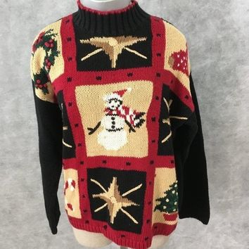 Villager Liz Claiborne Christmas sweater Size M tree star snowman ugly
