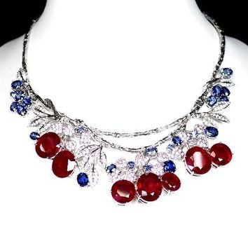 Vintage 157TCW Red Ruby, Blue Sapphire & White Sapphire Necklace