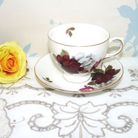 Bone China Cup and Saucer, Gainsborough, Made in England, White, Red Roses, Green Foliage, Vintage Wedding, Tea Party, Afternoon Tea