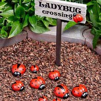 Ladybug Crossing Garden Sign Stake or Set of 9 Stones Yard Home Spring Decor