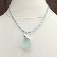 Light Aqua Sea Glass Necklace: Fine Silver Wire Wrapped Beach Jewelry, Seafoam Green Leather Cord Puffed Heart Charm Necklace