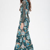 FOREVER 21 Lacy Floral Maxi Dress Green/Blue