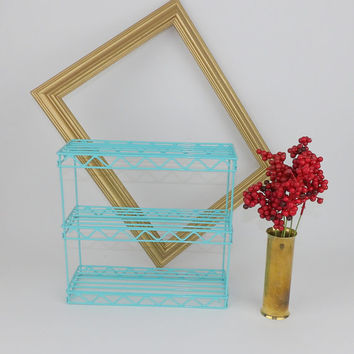 Metal Wire Shelf Hanging Aqua Blue Essential Oil Makeup Lipstick Shelf Towel Toiletries Holder Kitchen Spice Rack Counter top Office Storage