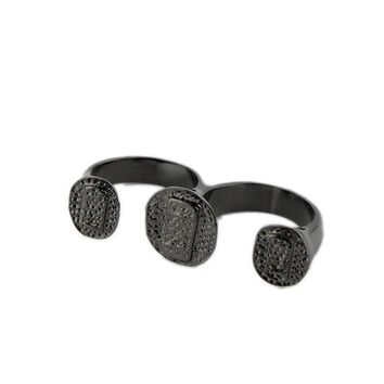 Punk jewellery Two-fingered piece ring ring ring plated black alloy ring Trinket sale Promotional accessories ER