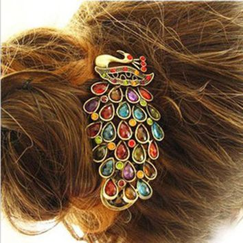 Fashion Girls Women Vintage Colorful Rhinestone Peacock Hairpins Hair Clip New 2017 Hair Accessories