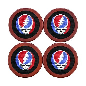 Steal Your Face Needlepoint Coasters in Black by Smathers & Branson