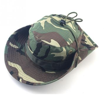 Unisex Bucket Boonie Hat With String Camouflage Nepalese Cap Fisherman Hat Military Camouflage Jungle Hat