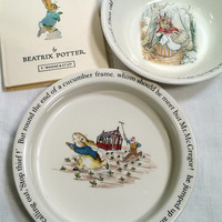 Beatrix Potter Vintage Peter Rabbit Child's Plate Dinnerware Set Collectible Plate Set Baby Dishes