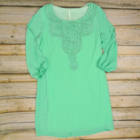 Crochet Bib Tunic Dress - Mint | .H.C.B.