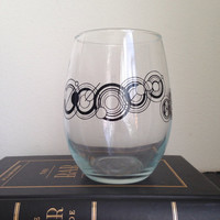 "Custom stemless wine glass you name in ""Gallifreyan"" inspired font"