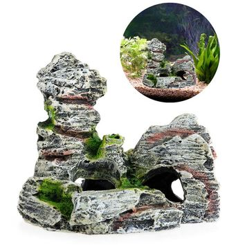 Mountain View Aquarium Rock Cave Tree Bridge Fish Tank Ornament Decoration Decor New