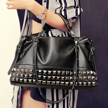 Fashion Women PU Leather Handbag Shoulder Bag Messenger Bag Rivets bag