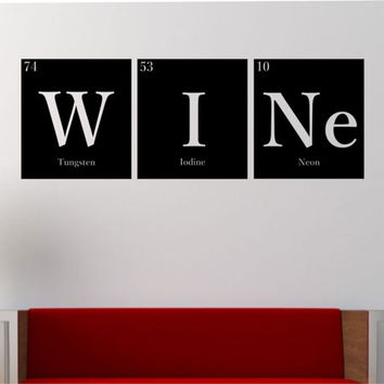 WINE Periodic Table Elements Vinyl Wall Decal Sticker Art Decor Bedroom Design Mural Science Geek nerd educational education