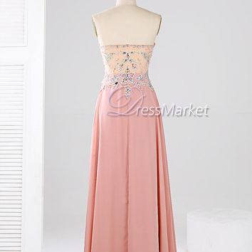 Pink long sweetheart chiffon prom dress,Floor length beading evening dress,Long chiffon bridesmaid dress,Wedding party dress,DressMarket033