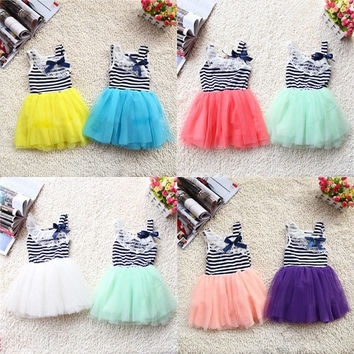 2-6Y Toddler Girls Stripe Dress Tutu Ruffle Skirt Kids Lace Bowknot One-piece = 1955661892