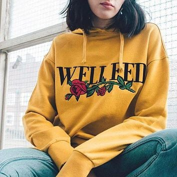 VON7TL Fall Winter Long Sleeve Print Floral Yellow Pullover Hoodies [37752340506]