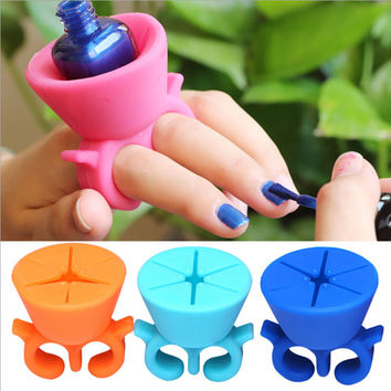 1PCS Durable Carrying Bracket Nail Tool Salon Nail Polish Bottle Ring Design Silicone Case Multicolor Decoration Tool