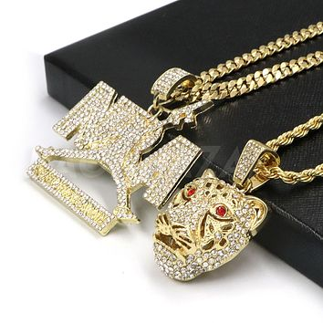 Iced out NBA NEVER BROKE AGAIN / Drake TIGER Pendant W/ Cuban and Rope Chain Set