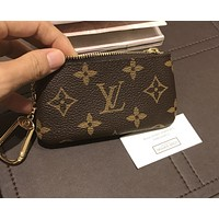 LV Louis Vuitton  Hot Print Zipper Key Pouch Clutch Bag Wristlet I