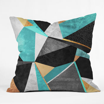 Elisabeth Fredriksson Turquoise Geometry Throw Pillow