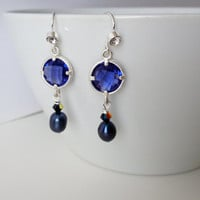 Blue Dangly Earrings - Blue Pearl and Glass Earrings