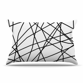 "Trebam ""Paucina v3"" Black White Pillow Sham"