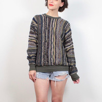 Vintage 1990s Sweater Olive Tan Textured Striped Coogi Sweater Style Pullover 90s Sweater Soft Grunge Boyfriend Sweater Jumper M L Large