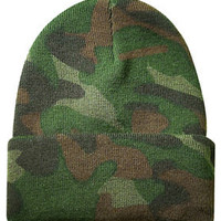 NEW CAMOUFLAGE CUFFED BEANIE HAT ARMY CAMO