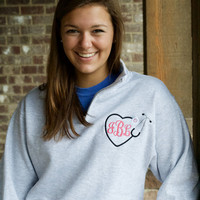 Monogram Nurse Heart Stethoscope Quarter Zip