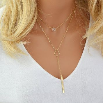 Y Necklace Gold, Bar Necklace with Diamond, Layering Necklace Gold, Delicate Diamond Necklace, Drop Necklace Personalized