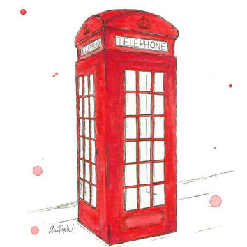 London Phone Booth - Print from original watercolor and pen illustration by Lexi Rajkowski, Telephone, art print, home decor, office decor