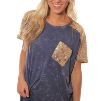 star light star bright sequin top - washed blue