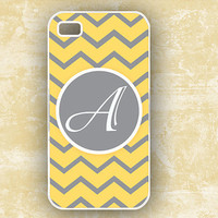 Yellow and gray chevron Monogrammed Iphone 4 case by ToGildTheLily