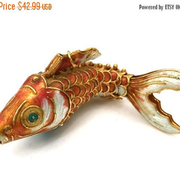 Coral Enamel Articulated Koi Fish Pendant, Vintage Chinese Export, Rare Large Size, Highly Detailed,