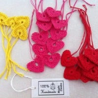 12 Small Crochet Hearts in Fuchsia Pink Yellow Red by kolus79